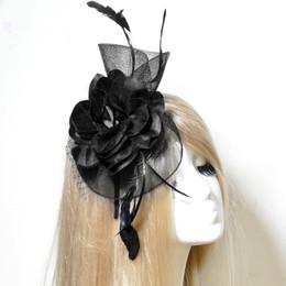 Мода головные уборы уникальный леди женщин свадьба чародей цветок перо сетки оголовье волос аксессуар ручной работы на Распродаже