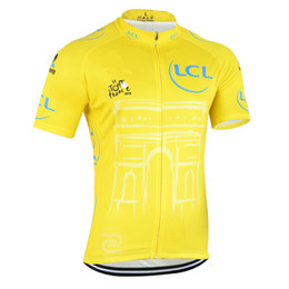 Wholesale HOT 2015 Tour DE France champion yellow Cycling jerseys Ropa Ciclismo short sleeves cycling jersey Mountain Racing Bike Cycling Clothing