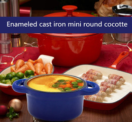 online shopping Enameled cast iron mini round cocotte blue casserole pot dutch oven cookware kitchen dining bar wsaor