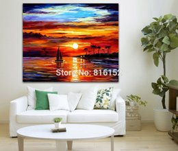 $enCountryForm.capitalKeyWord NZ - Sunset Seascape Sailing Boat Palette Knife Painting Oil Canvas Prints Wall Art Picture For Office Home Living Wall Decor