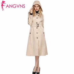 Barato Casaco Caqui Mulher Com Capuz-ANGVNS Mulheres Outono Inverno Long Trench Coat Khaki Outwear Hooded Turn down Collar Single Breasted Belted Windbreaker Coats Hat