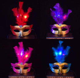 face masks wholesalers Canada - Halloween Party 3pcs Leather LED Masquerade Masks Women Fashion Gold Powder Half Face Carnival Masks Purple Red Blue Yellow Pink Burgundy