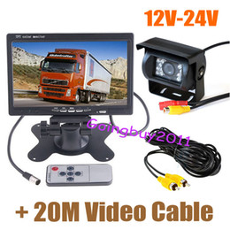"""24v Camera NZ - 12V-24V 18 LED IR LED Reversing Camera Car Rear View Kit + 7"""" LCD Monitor for Bus Truck with 20M video cable Free Shipping"""