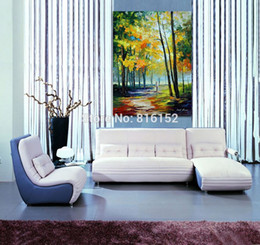 forest canvas print Canada - Palette Knife Painting Wander in Autumn Forest Landscape Picture Printed on Canvas for Home Office Hotel Wall Art Decor