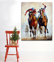 China Palette Knife Oil Painting Horse Riders Picture Printed on Canvas Mural Art Modern Home Living Hotel Office Wall Decor suppliers