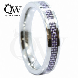 tungsten carbide fiber ring Canada - 4mm Tungsten Carbide Wedding Bands his and hers Wedding Bands with Purple Carbon Fiber Inlay Tungsten Mens Engagement Rings Fashion Jewelry