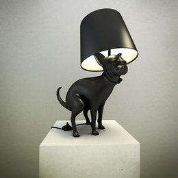 Discount simple drawings - Fashion Creative Dog Table Lamp Resin Desk Lamp White Black Table Lamp Modern Simple Style Drawing Room Bedroom Study De