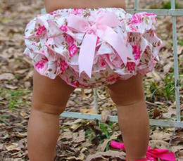 cute girls diapers 2020 - Baby Girl Kids Infant Satin Romper Bloomers Lace Briefs Jumsuit Rose Floral Print Bloomers Diaper Covers Toddler Bowknot