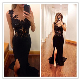 microfiber dresses 2019 - New Fashion Sexy Black Lace Prom Dresses Sheer Neck Sequins Beads Applique Side Slit Mermaid Formal Dresses cheap microf