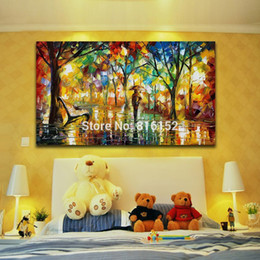 Street Art Canada - Palette Knife Oil Painting Walking in Rainy Night Bright Street Canvas Prints Drawing Mural Art for Home Living Bedroom Wall Decor