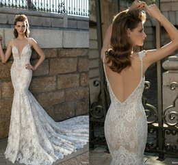 Discount deep v neck pastel dress - Berta 2018 Classical Lace Mermaid Wedding Dresses Spaghetti Straps Deep V Neck Backless Applique Bridal Gowns With Court