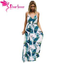 5d277205726d Dear Lover Long Dresses Boho Sexy Ladies Turquoise Tropical Leaf Print Sexy  V Neck Maxi Beach Summer Dress vestido longo LC61569 q1113