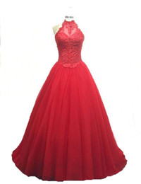 red crystal prom gown UK - 2017 New Sexy Red Sweetheart Quinceanera Dresses Ball Gowns With Beads Crystals Lace Up Sweet 16 Dresses 15 Year Prom Gowns QS1097