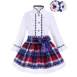 Toddlers bouTique online shopping - Pettigirl Girls Clothes Set with Headwear Kids Lace Cuff Boutique Grid White Top Plaid Skirts Toddler Girl Designer Clothes G DMCS908