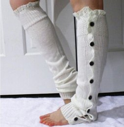 Discount white lace knee high socks - Christmas Gift womens boot socks leg warmer lace button winter Leggings Warm up knitted booty Gaiters foot over knee hig