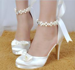 $enCountryForm.capitalKeyWord Canada - 2016 White Wedding SHoes For Bridal Shoes Beading Bow Custom Made Thin Heels Plus Size Elegant For Ladies Party Shoes Fashion Hot Sale