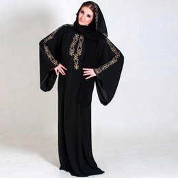 Robes D'abaya Islamiques Pas Cher-Robe de soirée musulmane en mousseline de soie noire au Moyen-Orient Robe de soirée musulmane Long Sleevess Beaded Kaftan Abayas Robes de bal en arabe Robe Robes islamiques