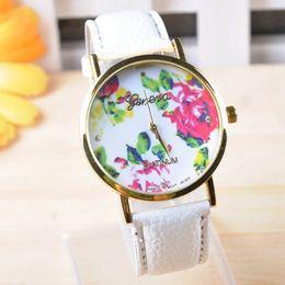 $enCountryForm.capitalKeyWord Canada - GENEVA Brand Fashion Leather Rose Flower Watch Women Dress Watch Stylish Quartz Watches montre geneva femme reloj mujer 2015