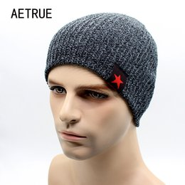 balaclava knitting 2019 - 2017 Warm Winter Beanies For Men Knit Hat Men's Winter Hats For Men Brand Bonnet Beanie Skullies Wool Warm Baggy Ba