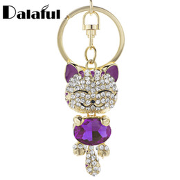 Fairy chain online shopping - Cute Cat Crystal Rhinestone Keyrings Key Chains Rings Holder Purse Bag For Car Lovely Keychains K218C