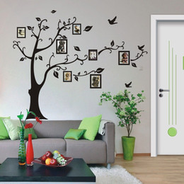 kids growth chart wall art Canada - 2015 Wall Stickers Room Photo Frame Decoration Family Tree Wall Decal Sticker Poster on a Wall Sticker Tree Wallpaper Kids Photoframe Art