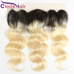 Discount full lace front closure virgin hair - Blonde Ombre Full Lace Frontal 13x4 Body Wave Virgin Brazilian Human Hair Top Closures Cheap Dark Roots 1B 613 Wavy Fron