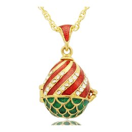 White Egg Pendant NZ - Handcrafted Enamel colors clear Crystal Rhinestone fish shape Faberge Egg Russian Egg Pendant Necklace for Easter day