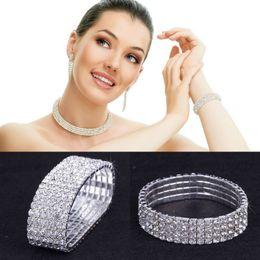 $enCountryForm.capitalKeyWord Canada - 1-10 Rows Lady Rhinestone Crystal Bangle Bracelet Elastic Stretch Wedding Bridal Tennis Bracelet Charms Jewelry ZAU*10