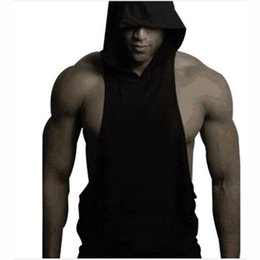 Barato Hoodie Sem Mangas Tanque-Venda Por Atacado - New Mens Bodybuilding Sleeveless Tank Tops Hooded T-Shirt Muscle Hoodie Singlet Vest Top T-Shirts Vestuário