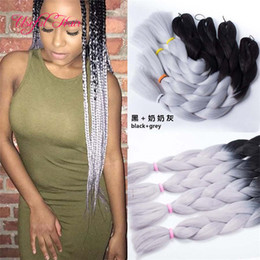 two tone braid hair UK - 24inch 100grams 2x Jumbo BRAIDS SYNTHETIC braiding hair two tone ombre color crochet hair extensions ombre braided box braids hair hooks