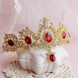 Bandeaux De Diamant Coréen Pas Cher-New Fashion Vintage Wedding Bridal Crystal Rhinestone Or Red Diamond Headband Accessoires pour cheveux Couronne Tiara Korean Baroque Jewelry Headwrap