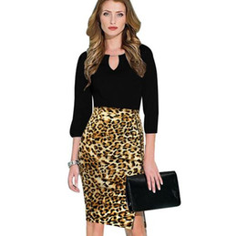 Barato Saias Zebra Mulheres-2017 New Fashion Women Elegante Leopard Zebra High Waisted Zipper Side Slit Wear to Work Business Casual Stretch Bodycon Lápis saia
