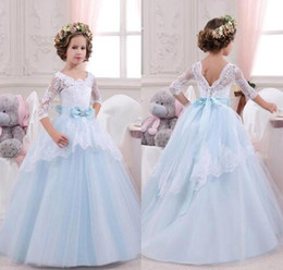 Pageant Dresses Same Day Shipping Canada - New White Blue Flower Girls Dresses V Neck Half Sleeves Lace Ball Gown Pageant Gowns for Girls Custom Made Free Shipping BA1492