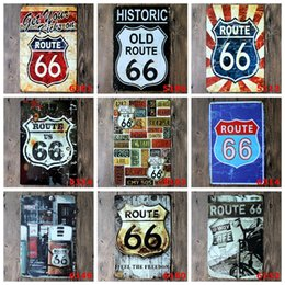 halloween tin signs wholesale NZ - Route 66 Car Plates Painting Vintage Tin Sign Bar Pub Home Wall Decor Retro Metal Art Poster