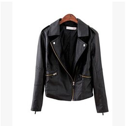 oblique jacket fashion 2019 - Wholesale-wholesale Jacket Coat Women Coat Jacket pu leather oblique zipper Outerwear Coat Jacket Tops motorcycle Jacket
