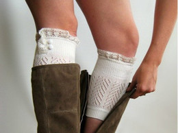 Wholesale Lace Boot Cuffs knit boot topper lace trim buttons faux legwarmers lace cuff shark tank leg warmers