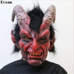 red devil mask 2020 - Hot Sale Scary Adult Costume Horn Zombie Mask Horror Party Cosplay Halloween Party Scary Horns Red Devil Mask for Party
