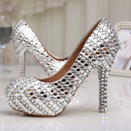 3db7437e8553 Womens High Heel Glitter Crystal Platforms Wedding Shoes Diamond Jeweled Silver  Bridal Shoes 12cm Cinderella Prom Evening Pumps