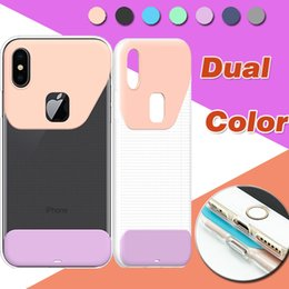 iphone clear case color edge Canada - Dual Color Case Soft TPU Hard PC Ultra Thin Slim Transparent Crystal Clear Back Cover For iPhone X 8 7 Plus 6 6S Samsung S8 S7 Edge Note 8