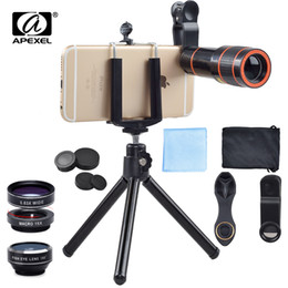 telephoto cameras NZ - APEXEL 6IN1 Phone Camera es Kit 12X Telephoto Zoom Lentes+Tripad Clips+Wide Angle Macro Fisheye For Cell Phone iPhone lens