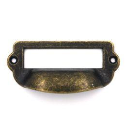 Wholesale  2pcs 82x40mm Label Pull Holder Drawer Handles Frame Cabinet  Antique Brass Screws Copper