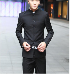 Collar Chinese Tunic Suit Canada - The latest version of men's suit two-piece chic collar single-breasted suit fashionable men two-piece black Chinese tunic suit