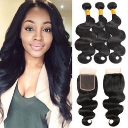 Human Hair Pc Closure NZ - 8A Human Hair Bundles With Closure 3 Pcs Brazilian Virgin Hair With Lace Closure Body Wave Peruvian Malaysian Indian Hair Bundles With Closu