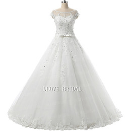 keyhole plus size dress UK - Illusion Cap Sleeve Ball Gown Wedding Dress with Keyhole Back Bateau Neck Beaded Lace Appliques Corset Bridal Dresses Dream Plus Size Gown