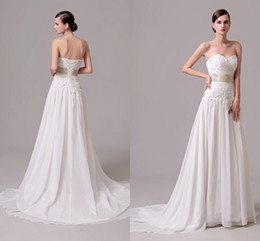 Barato Rendas De Renda Barata-Chiffon Cheap Lace Wedding Dress Com Applique Draped Ribbon A Line Sweep Train Back Corset Vestidos de Novia White Beach Bridal Gowns