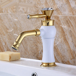 Luxury European Basin Sink Faucet White Painting Thee Color Mixer Water  Taps Copper Deck Mounted Faucets A T075