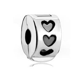 Raw beads online shopping - Rhodium Plating Black Enamel Heart Raw Clip Bead European Lock Stopper Charm Spacer Fit Pandora Bracelet