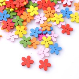Flower Button Up Canada - Multicolor 100pcs 14x15mm 2 Holes Mixed Flower Wooden decorative Buttons Fit Sewing Scrapbooking Crafts TT78