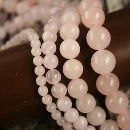 Discount rose quartz beads 8mm - Wholesale-2016 Christmas Gifts 4mm 6mm 8mm 10mm Rose Quartz Round Beads Natural Stone 15'' Jewelry Beads