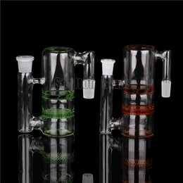 Double Filter Bongs Canada - Soulton Glass Ash Catcher 18 Double Filter Honey Comb Ash Catcher Glass With 14.4mm and 18.8mm Joint for Glass Bongs AC-005